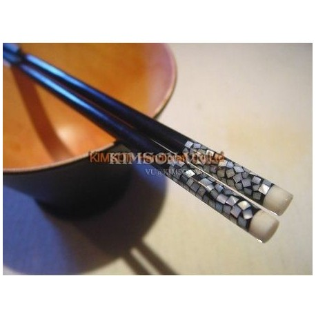 Chopsticks handmade from ebony + bone mosaic and mother-of-pearl head