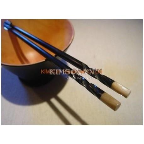 Палочки для еды ручной работы из черного дерева и улитка перламутр