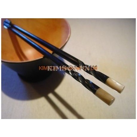 Chopsticks handmade from ebony and snail mother of pearl