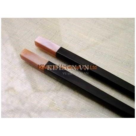 Палочки для еды ручной работы из черного дерева и розового перламутра