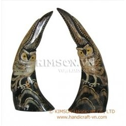 1 Pair owl made of water buffalo horn & Engraving by hand