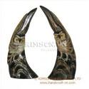 1 ペア フクロウ水牛製ホーン & 手で彫刻