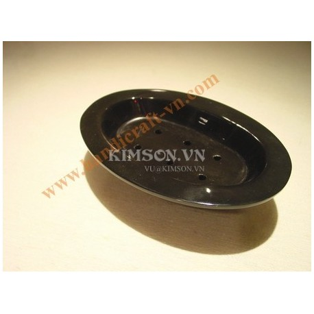 Soap holder 2 pieces in black buffalo horn.