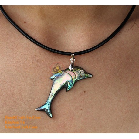 DOLPHIN Handmade Natural Abalone Pendant Necklace