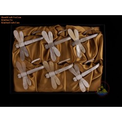 Combo Napkin: 6 Dragon-fly napkin marble cow horn with Brocade box