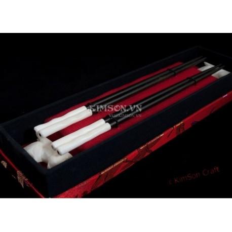 Chopstick combo 2: Ebony Wood + Green Abalone + Red Cloth