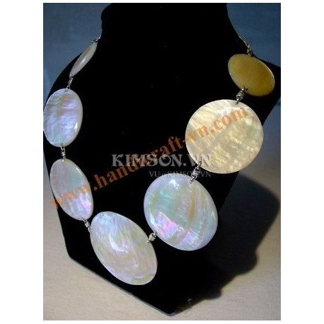 Necklace rigid choker 1 circle brown mother-of-pearl