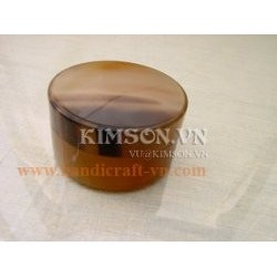 Round box made of marble buffalo horn