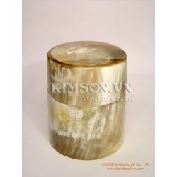 Round box made of white marble buffalo horn (Large Size)