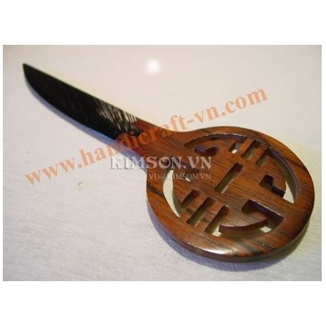 The letter opener in rosewood and black water buffalo black horn