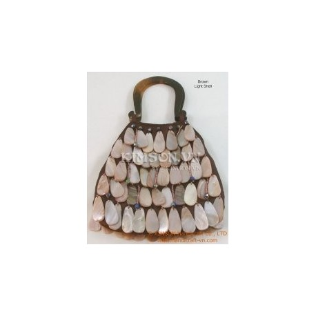 Silk & Hanging Shell Purse with Horn Handle