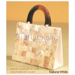 Mother of Pearl White Bag + Handle Horn
