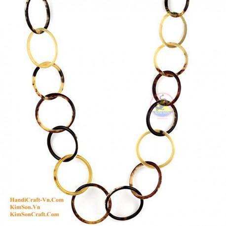 自然な円形ホーン ネックレス - モデル 0009