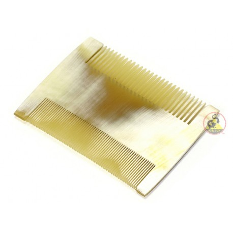 Real Horn Comb - Double Side Tooth - 92 x 70 mm (3.62 x 2.75 Inch)