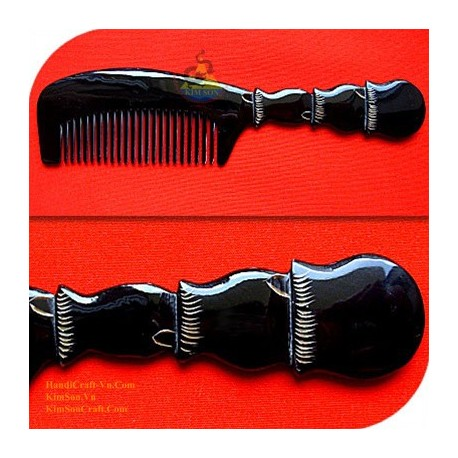 Real Horn Comb - Engraving Black Horn - 005