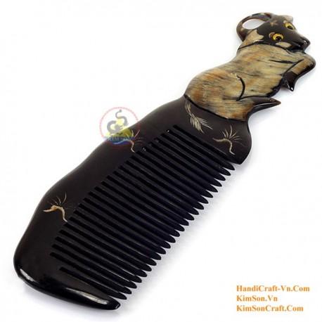 Real Horn Comb - Engraving Buffalo Black Horn - 020