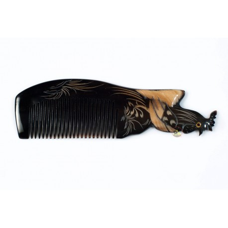 Real Horn Comb - Engraving Cock Black Horn - 038