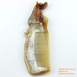 Real Horn Comb - Engraving Dog Marble Horn - 016