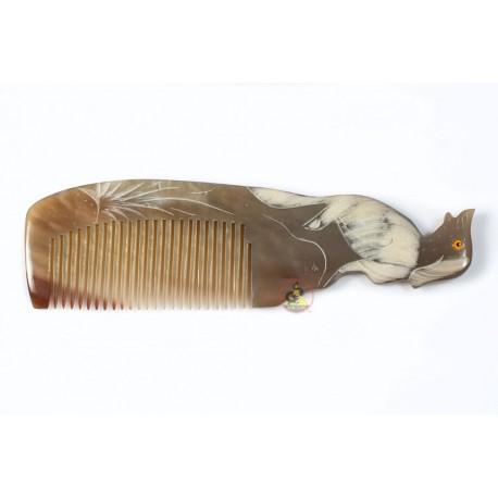 実際角櫛 - 彫刻犬大理石ホーン - 046