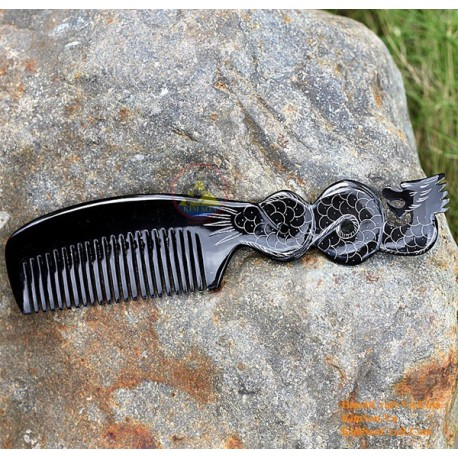 Real Horn Comb - Engraving Dragon Black Horn - 002