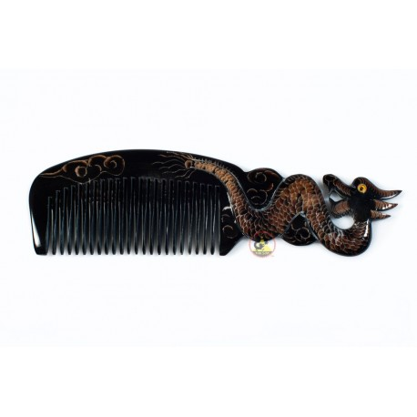 Real Horn Comb - Engraving Dragon Black Horn - 043