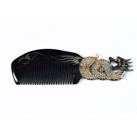 Real Horn Comb - Engraving Dragon Black Horn - 044
