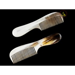 Real Horn Comb - Medium Round Handle - 17 x 4.5 cm - 6.69 x 1.77 Inch