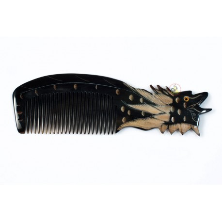 Real Horn Comb - Engraving Head Dragon Black Horn - 039