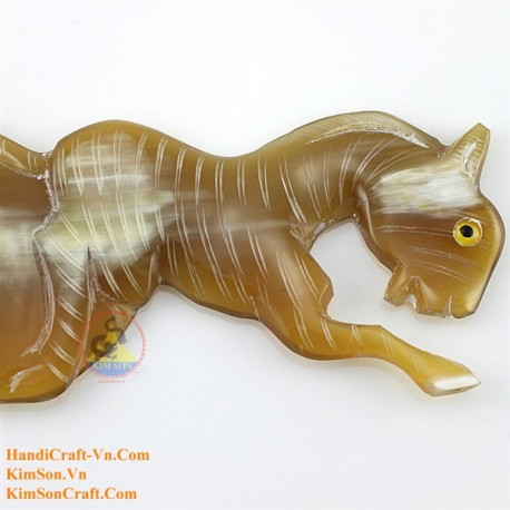 実際角櫛 - 彫刻の馬 Marber ホーン - 012