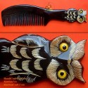 Real Horn Comb - Engraving Owl Black Horn - 003