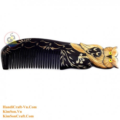 Real Horn Comb - Engraving Owl Black Horn - 026