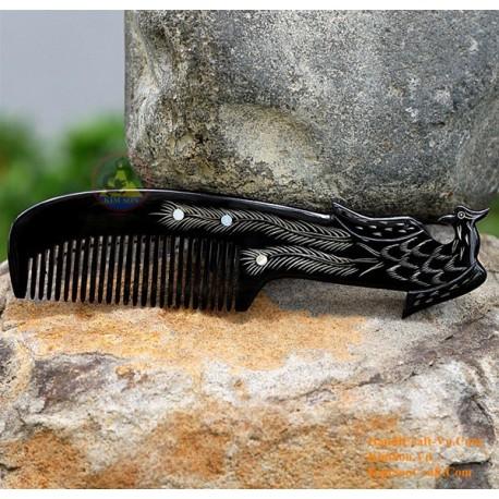 実際角櫛 - フェニックスを彫刻ブラックホーン - 001