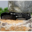 Real Horn Comb - Engraving Phoenix Black Horn - 001