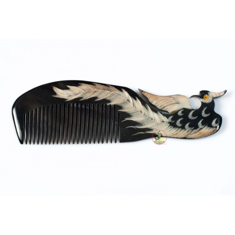 Real Horn Comb - Engraving Phoenix Black Horn - 040