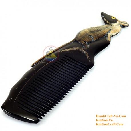 実際角櫛 - マウスを彫刻ブラックホーン - 033