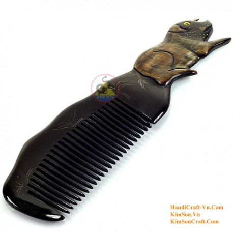 Real Horn Comb - Engraving Pig Black Horn - 023