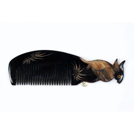 Echt Horn Kamm - Gravur Rabbit schwarz Horn - 037