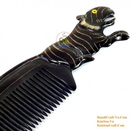 Real Horn Comb - Engraving Tiger Black Horn - 030