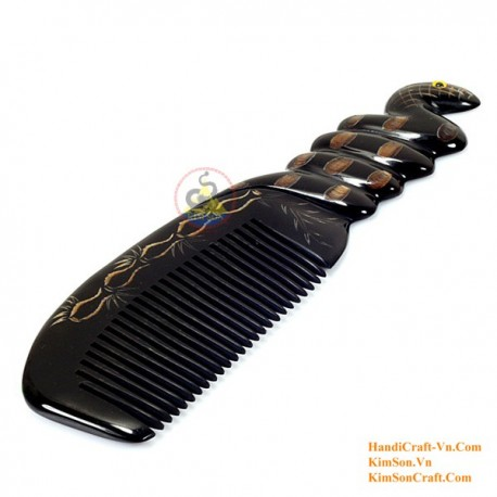 Echt Horn Kamm - Gravur-Snake Black Horn - 029