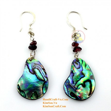Organic Green Abalone - Earrings