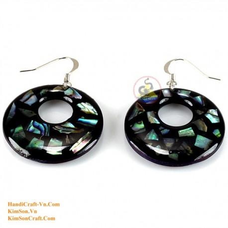 有機マザーオブ パール - サークル - 黒と緑のイヤリング