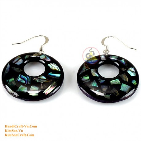 Organic Mother of Pearl - Circle - Black and Green - Earrings
