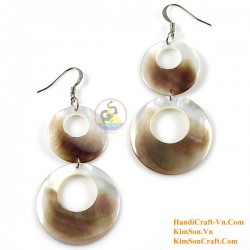 Organic Mother of Pearl -Two Circles -White and Black - Earrings
