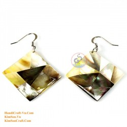 Organic Mother of Pearl - Gold , White and Black - Earrings