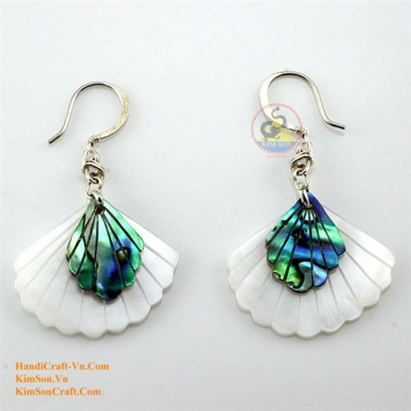 Bio weiße Mutter der Perle und grüne Abalone - Ventilator - Ohrringe