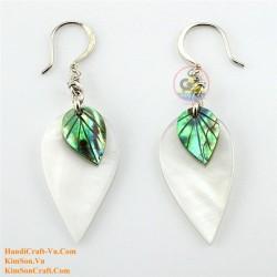 Органический белый перламутр и Abalone Green Leaf - - Серьги