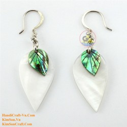 Organic White Mother of Pearl and Green Abalone - Leaf - Earrings