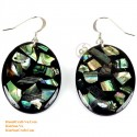 Organic Black Mother of Pearl - Circle - Earrings