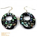 Organic Green Abalone- Circle - Earrings