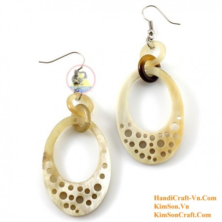 Organic Cow Horn - White -Earrings